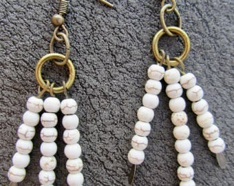 White and gold vein beaded tribal afrocentric dangle earrings