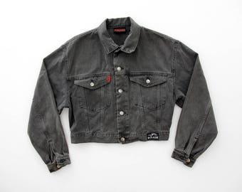 Vintage Jean Jacket // 80's Pash Black Denim Crop Jacket