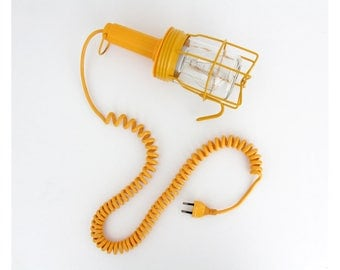 Vintage 1970's Industrial German Caged Lamp // Yellow Metal Cage Work Light with Spiral Cable Cord // 70's Germany