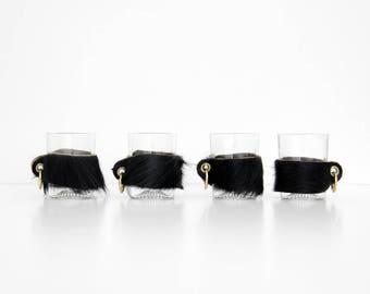 4x Vintage shot glasses // Set of Four Shot Glasses with Fur Holders