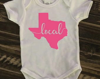 State of Texas Local Onesie, Creeper, Bodysuit | personalized gift | Local | Texas Pride