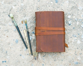 Leather Journal, A5 Leather Sketchbook, Water color sketchbook, Rustic Journal