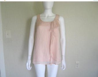 ON SALE silk ruffle sleeveless top