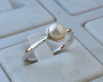 SALE Pearl Silver Ring ,Sterling Silver Ring ,White Pearl Ring ,Promise Ring, Handmade Pearl Ring ,Bridal Ring ,Thin Pearl Ring ,Statement R