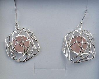 SALE Rose Quartz Silver Earrings, Sterling Silver Dangle Earrings ,Handmade Quartz Earrings ,Silver Gemstones Earrings ,Bridal Silver Earrin