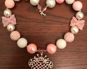 Minnie Mouse Head with Princess Crown with Rhinestones Bubble Gum Necklace (Child)