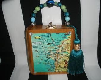 Vintage Sarasota, Bradenton, Beaches Map Cigar Box Purse, Cigar Box Handbag, Authentic, Tampa, Humadorables by Susan