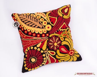 "Peru throw pillow case 16x16""- Embroidered Pillow Cover- Embroidery wool pillow case - Throw Accent pillow - Peruvian Textiles - Sofa pillow"