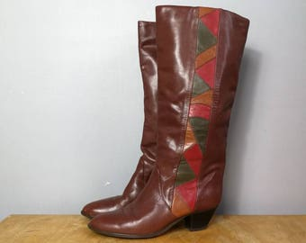 Brown leather 80s boots / leather slouch boots with red green leather patterns / 80s boho  boots / vintage tan boots UK 5 / brown boots