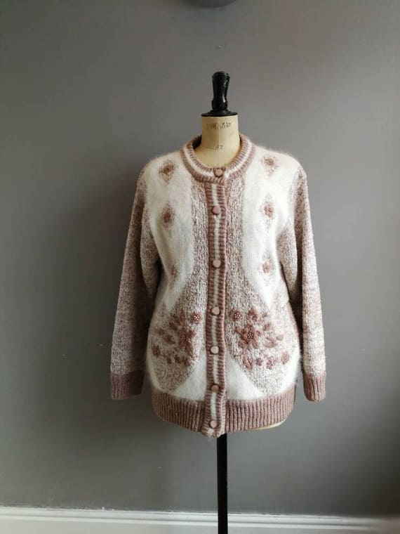 80s jacket cardigan // slouchy knit cardigan // ugly sweater // 80s embellished cardigan // over sized // white and brown wool jumper large
