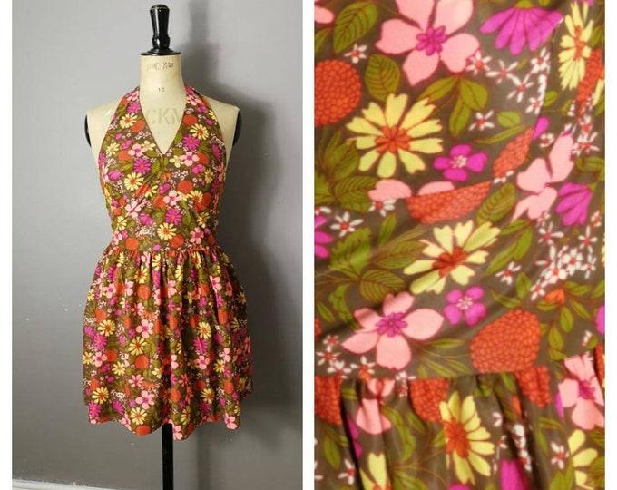 Featured listing image: Retro halter neck floral dress / boho festival dress / 70s hippie short  dress / bohemian vintage short dress / nylon retro dress / UK 8