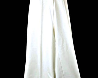 White Bell Bottom Pants High Waist Plus Size