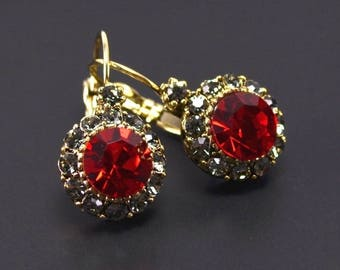 Red crystal earrings