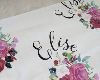 Personalized red rose swaddle blanket: baby and toddler personalized name newborn hospital gift baby shower gift