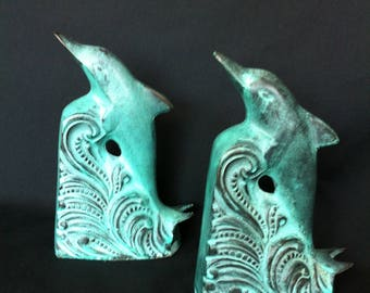 A Pair Of Heavy Dolphin Bookends