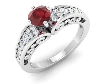 Ruby Engagement Ring With Diamond   14K Gold Ring   Vintage Inspired   Diamond Engagement Ring   Natural Ruby Ring   14K Gold Diamond Ring