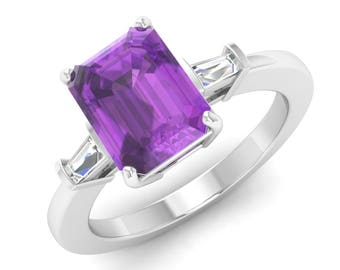 Amethyst Ring, 14K White Gold, Amethyst Engagement Ring, Emerald Cut, Amethyst With Diamond Engagement Ring, Anniversary Gift, Wedding Ring