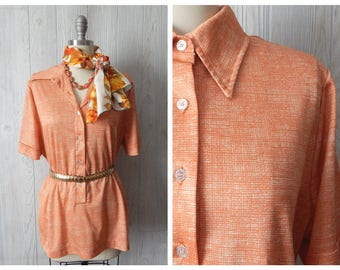 Women's Vintage 70s Orange and Cream Abstract Print Button Down Short Sleeve Polo Shirt Blouse // Size S M