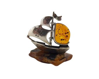 sterling silver and natural baltic amber ship