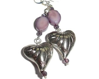 Heart Drop Earrings Purple earrings silver heart earring silver earrings fancy earrings gift earring gift for her purple crystal puffy heart
