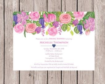 Bridal Shower Invitation, Watercolor Bridal Shower Invitation, Bridal Shower Invites, Floral Bridal Shower Invitation, Printed Invitations