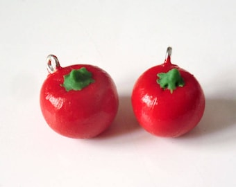 1 x charm Miniature handcrafted tomato 16mm