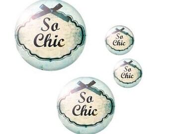 "Set 4 ""Blue - so chic"" themed glass cabochons 12mm / 20mm / 25mm (craftsmanship)"