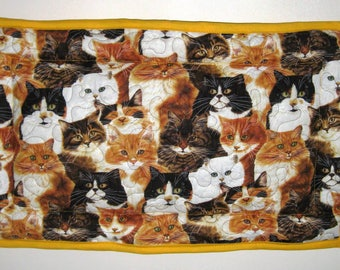 Quilted Pet Carrier Mat with Brown, Orange and Gray Cats Size Medium
