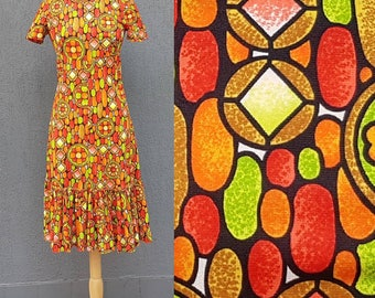 Vintage 1970s Flower Power Stained Glass Dress  10 au
