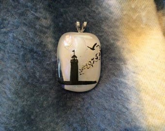 Nautical fused glass pendant