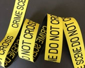 Crime Scene Do Not Cross woven jacquard embroidered ribbon trim 3 yards 25mm 1 inch wide free domestic shipping