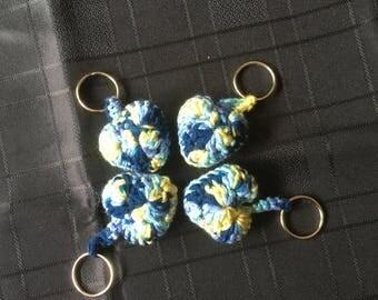 Crochet Heart Keyring blue/yellow