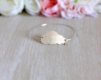 Large cloud star silver bracelet freshwater