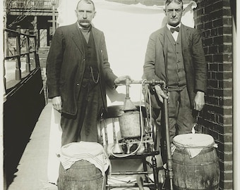 Two Men, Prohibition Era, Posing with Whiskey Still, Photo 1920's
