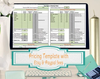 Pricing Template for Etsy Sellers, Excel Spreadsheet includes Etsy & Paypal Fees Built into Pricing