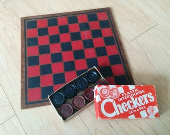 Vintage Hard Checker Board with Checkers Set - Cleytoy Products - Pressed Board and Plastic Checkers