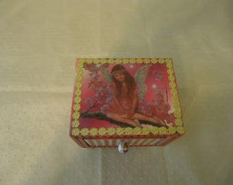 Fairy and Butterfly Themed Wooden Jewelry, Trinket, Keepsake Box