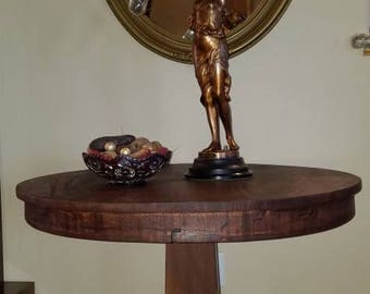 Antique Gorgeous Empire Mahogany Crotch Entryway Table 1800s Round  End Side