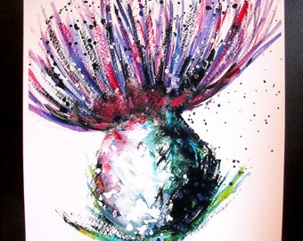 Thistle by Suzanne Patterson. Approx'  A3 large size poster print. From one of my original paintings.X