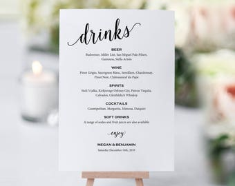 Bar Menu Sign, Wedding Bar Sign, Bar Sign, Wedding Bar Menu Printable, Drink Menu, Wedding Sign, PDF Instant Download, MM01-1