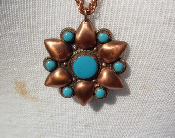 Vintage Copper and Turquoise Pendant Necklace Signed By Bell Trading Company