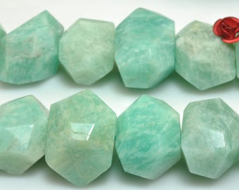 15 inches of Natural Brazilian Amazonite faceted nugget beads in 12-14mm width X 16-19mm length (03203#)