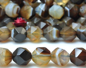47 Pcs of Natural  Banded Agate Faceted Star Nugget beads in 8mm