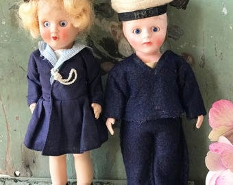 A sweet pair of Rosebud sailor dolls