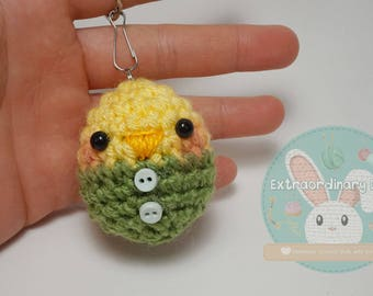 Green Chick Key Ring Amigurumi Crochet