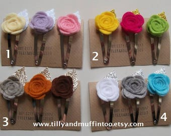 Felt Rose Seasons Hair Clips,Snap Clips,Hair Accessory. Teacher Gift,Wedding/Bridal/Baby Shower, Stocking Stuffer/Filler,Party Favour.