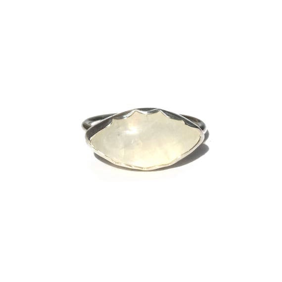 sterling silver rainbow moonstone ring, size 8 1/2