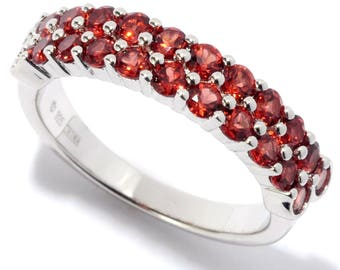 Rhodium Over Sterling Silver 1.4ctw Red Garnet Band Ring SZ 6,7