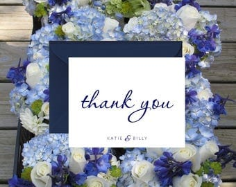 Handmade With Love Thank You Notes / Navy and White / Printed Thank You Notes