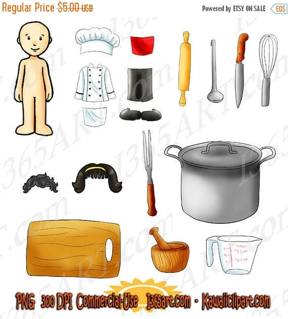 50 OFF Kawaii Dress Up Chef Kitchen Cooking Appliances Clipart Pack